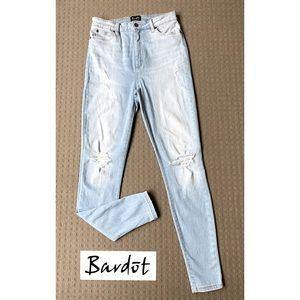 Bardot Blue High Rise Skinny Ripped Jeans AU12